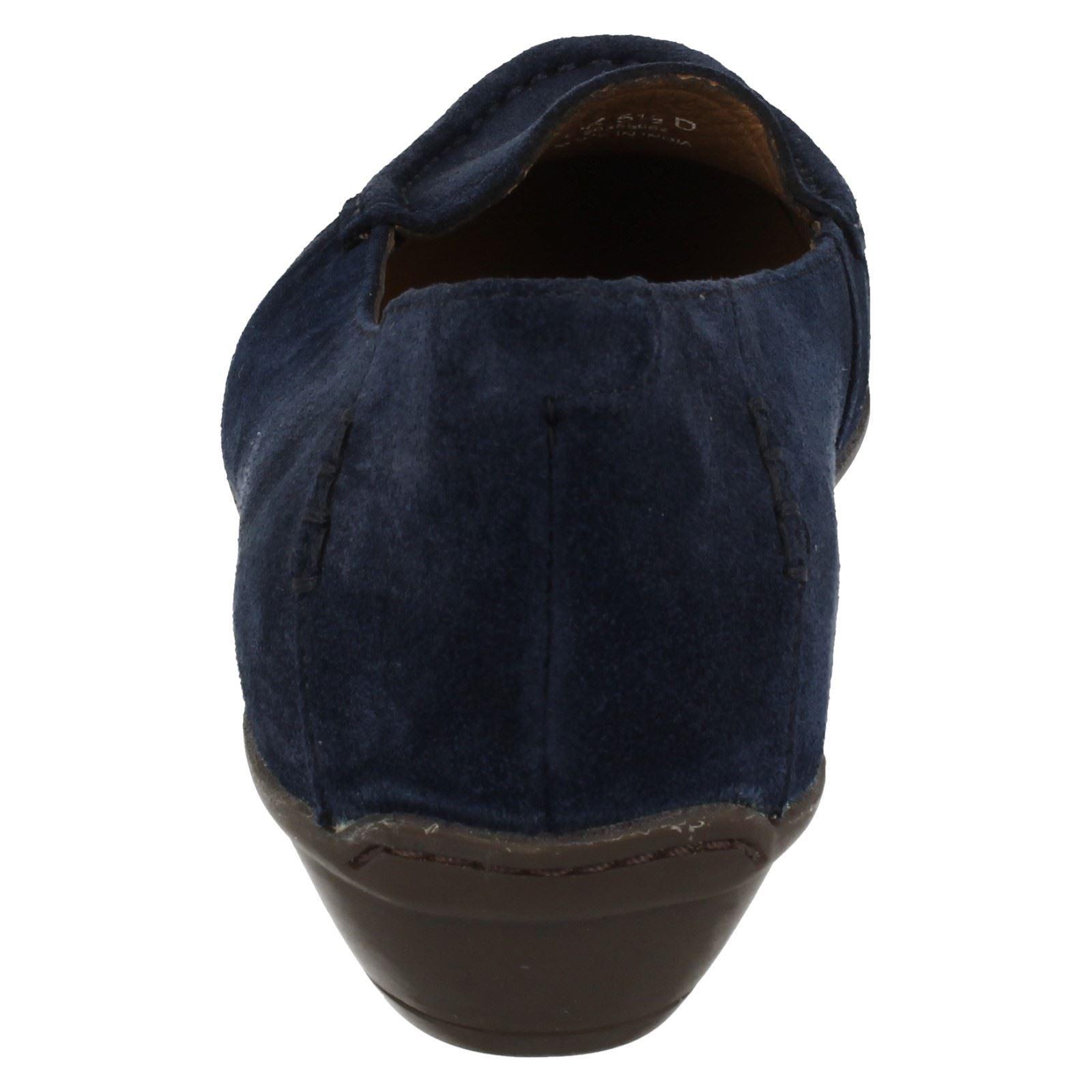 baf12972209 Ladies Clarks Loafer Heeled Shoes Gilded Opal Navy UK 6 D