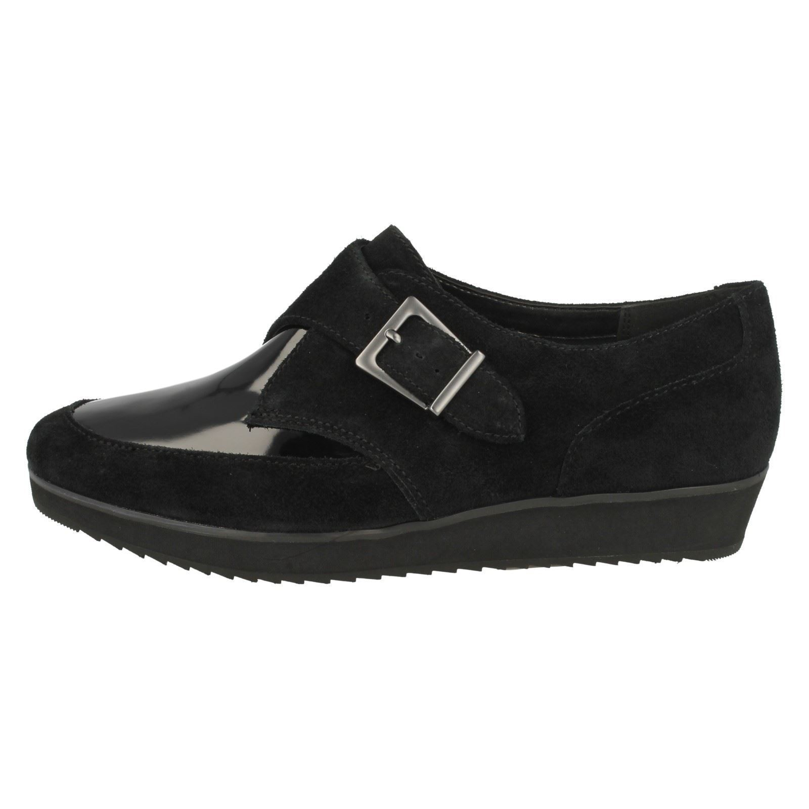 Damas Clarks Zapatos Hebilla Brújula Punto estilo ~ K