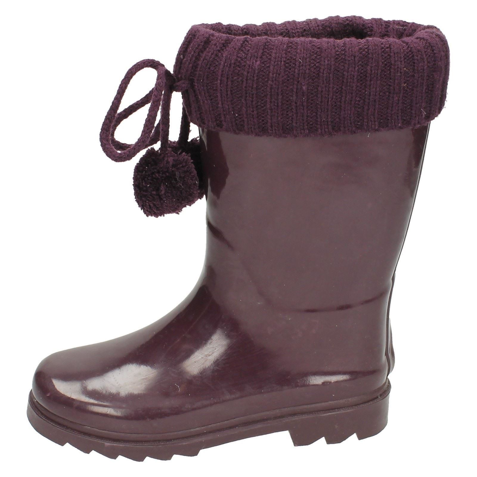 Girls Pom Pom Wellie Wellington Boot Label - X1172
