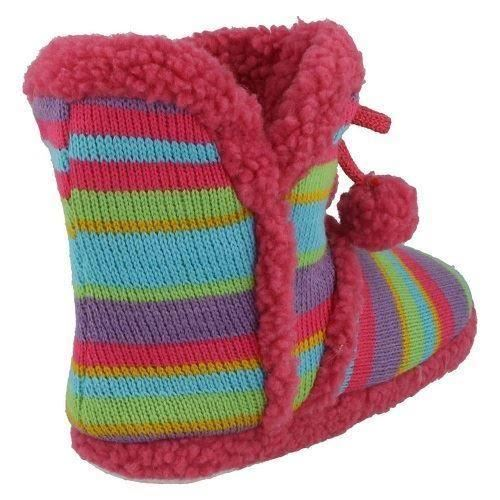 Girls Spot On Multicoloured Ankle Boot Slippers X2038 ~ K