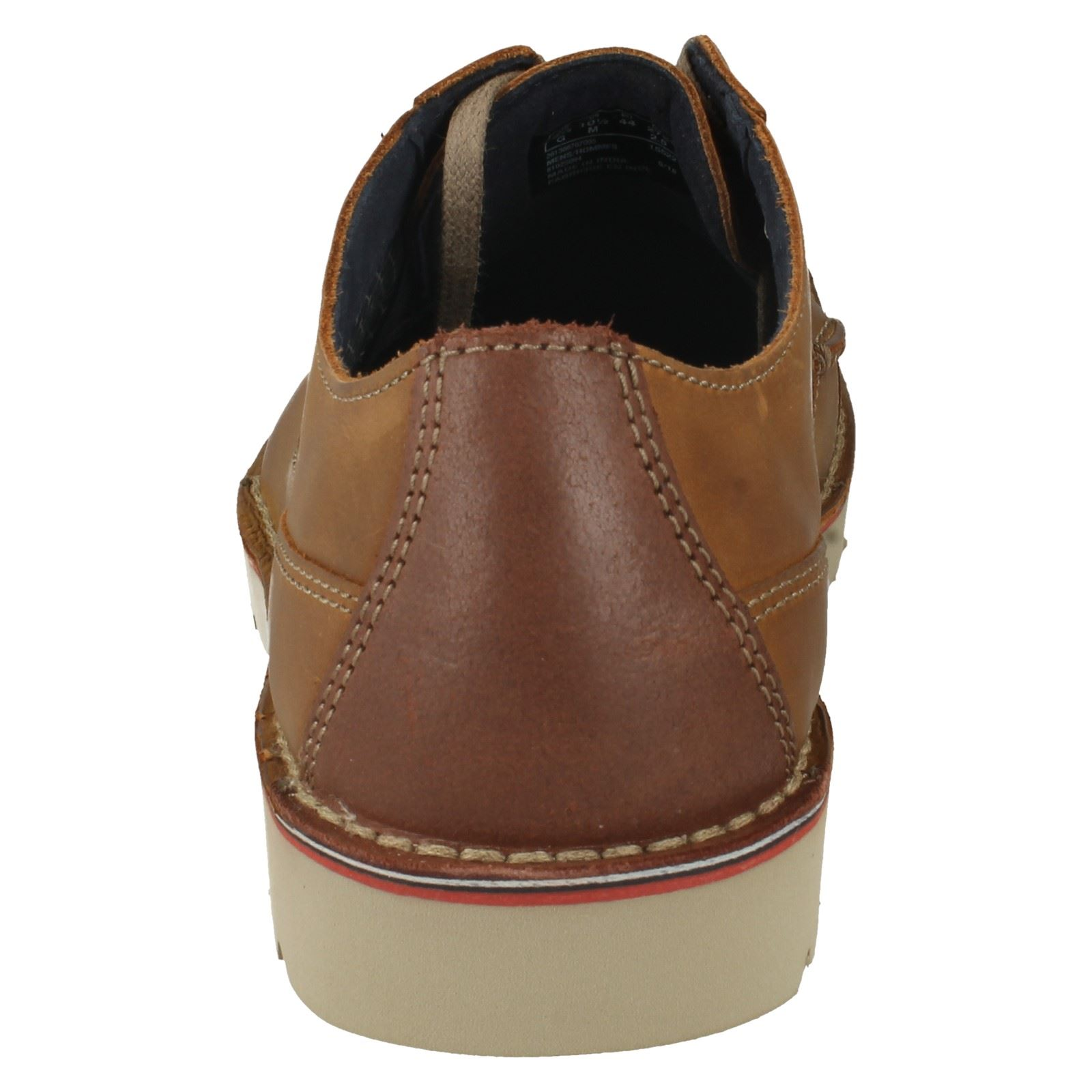 Uomo Clarks Leder Casual Schuhes Cushion Soft Lace Up Schuhes Casual The Style - Vargo Plain 689437