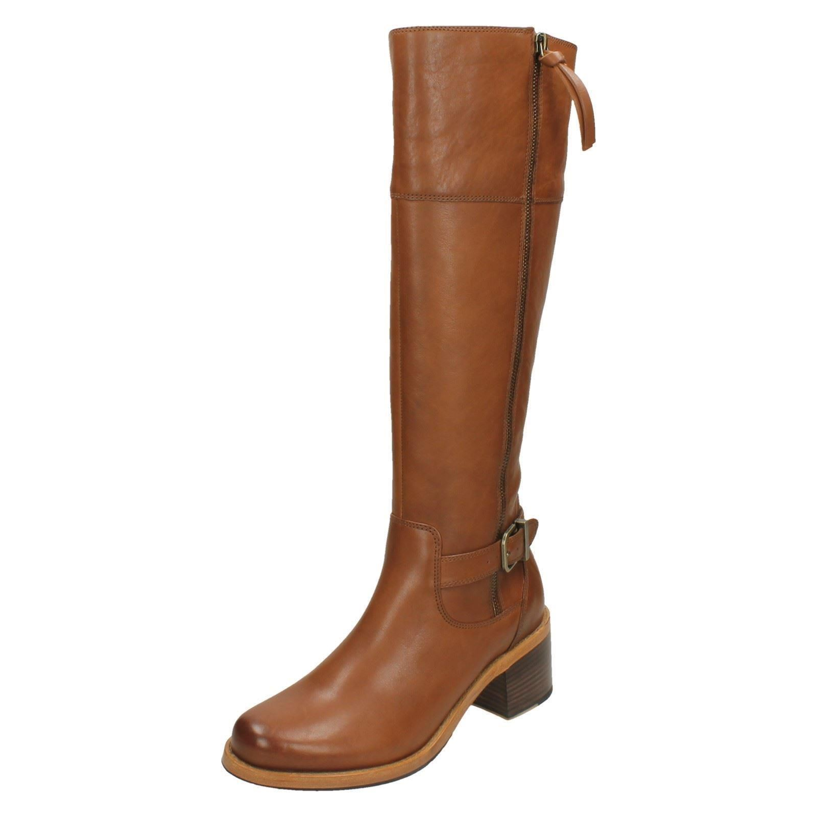 Boots Leather Knee Sona Tan Clarkdale Clarks Style High Dark Ladies Heeled fIxBXqpwWH