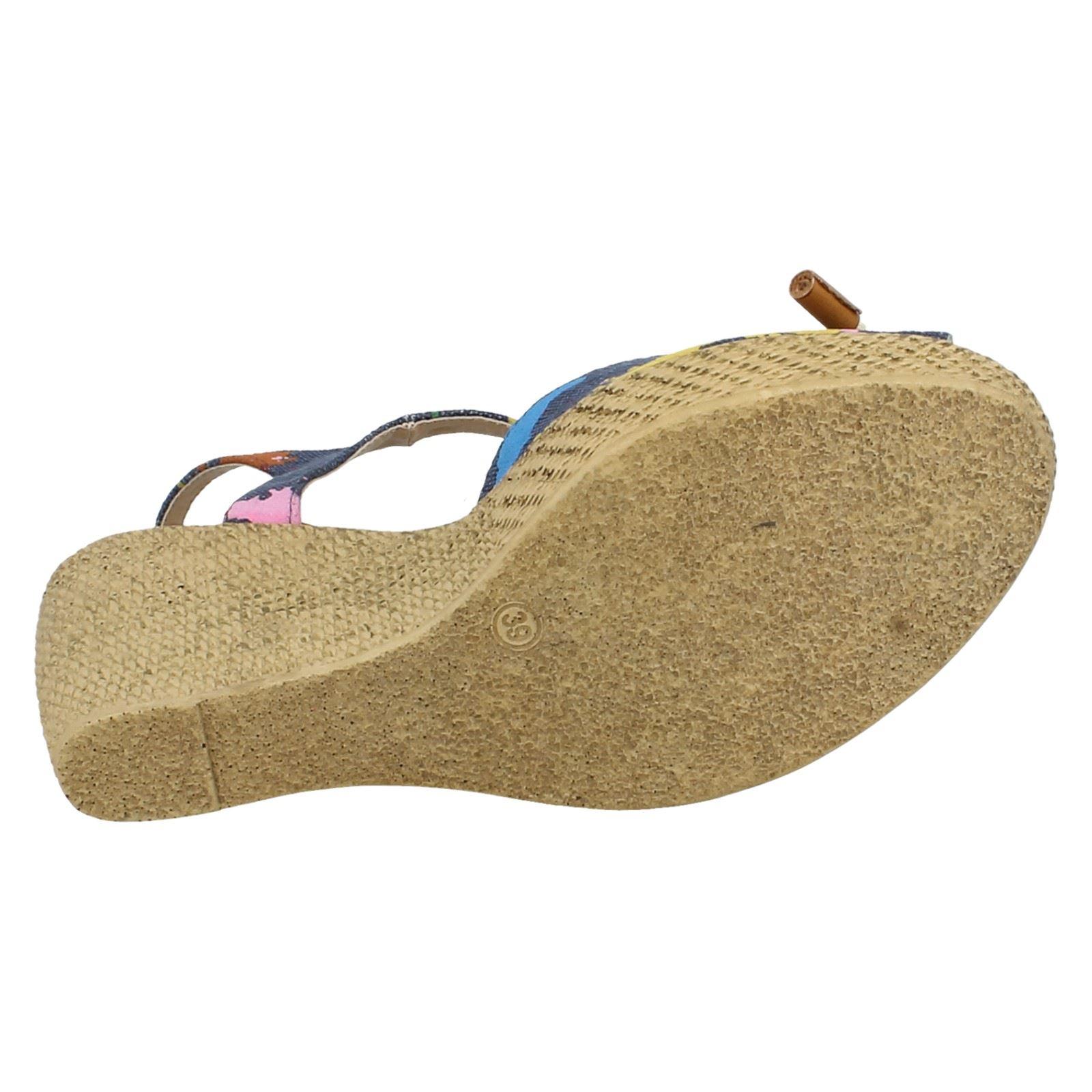 Damas Spot On Cuña Peep Toe Sandalias el estilo-F2229