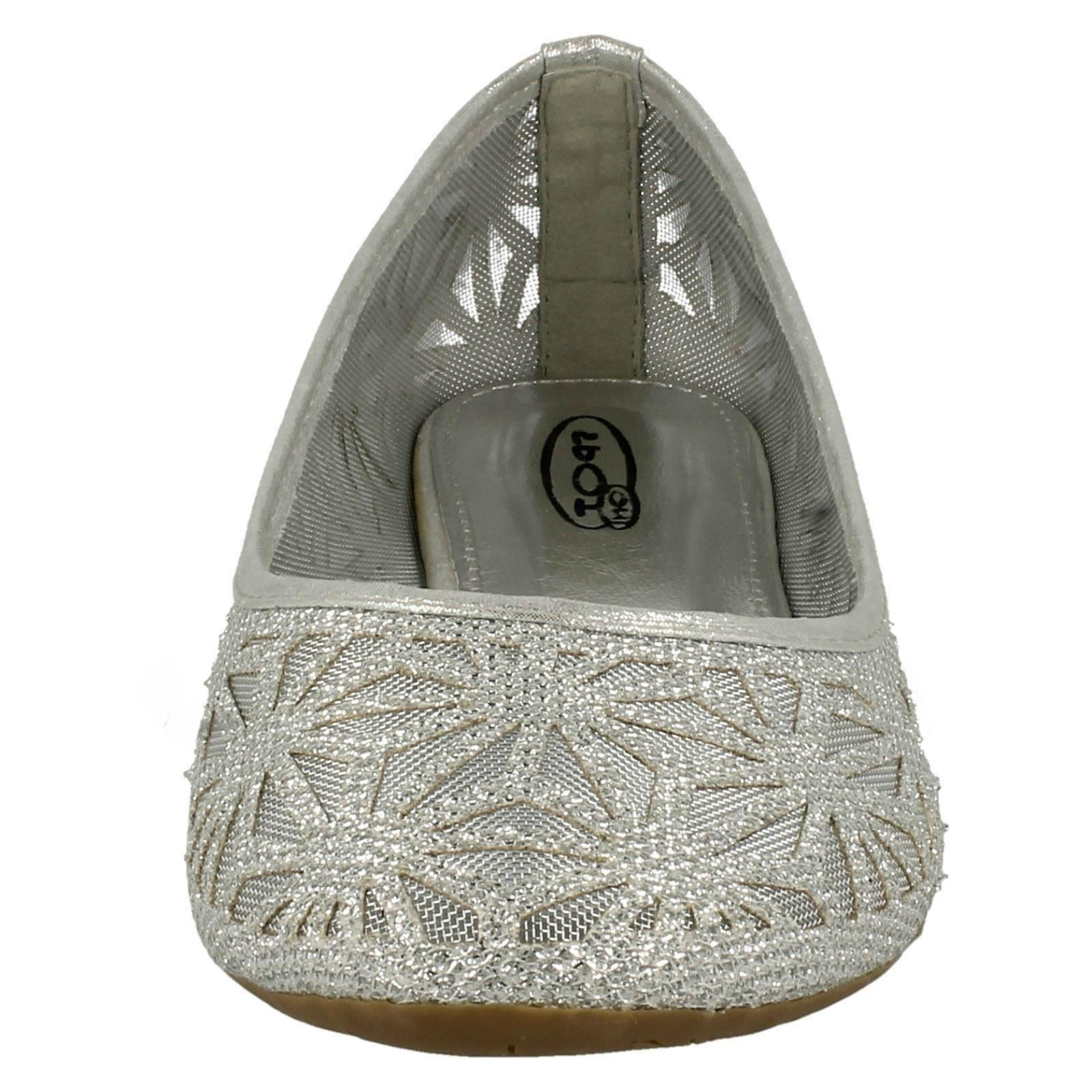 Damas Spot on F80116 Brillo Slip on Bailarina Zapatos ~ K