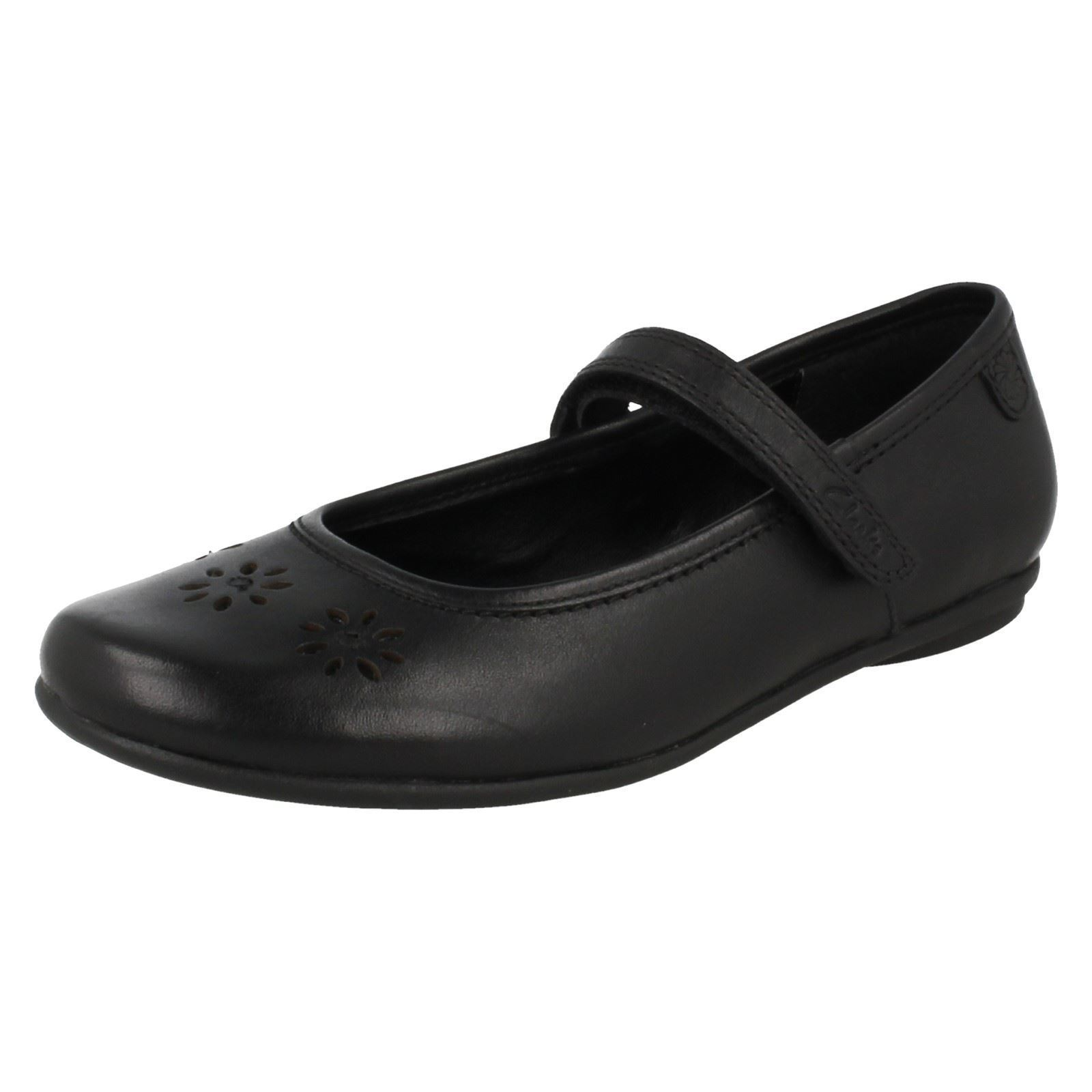 Girl-039-s-Clarks-School-Shoes-Daisy-Flo-Black-Leather-K