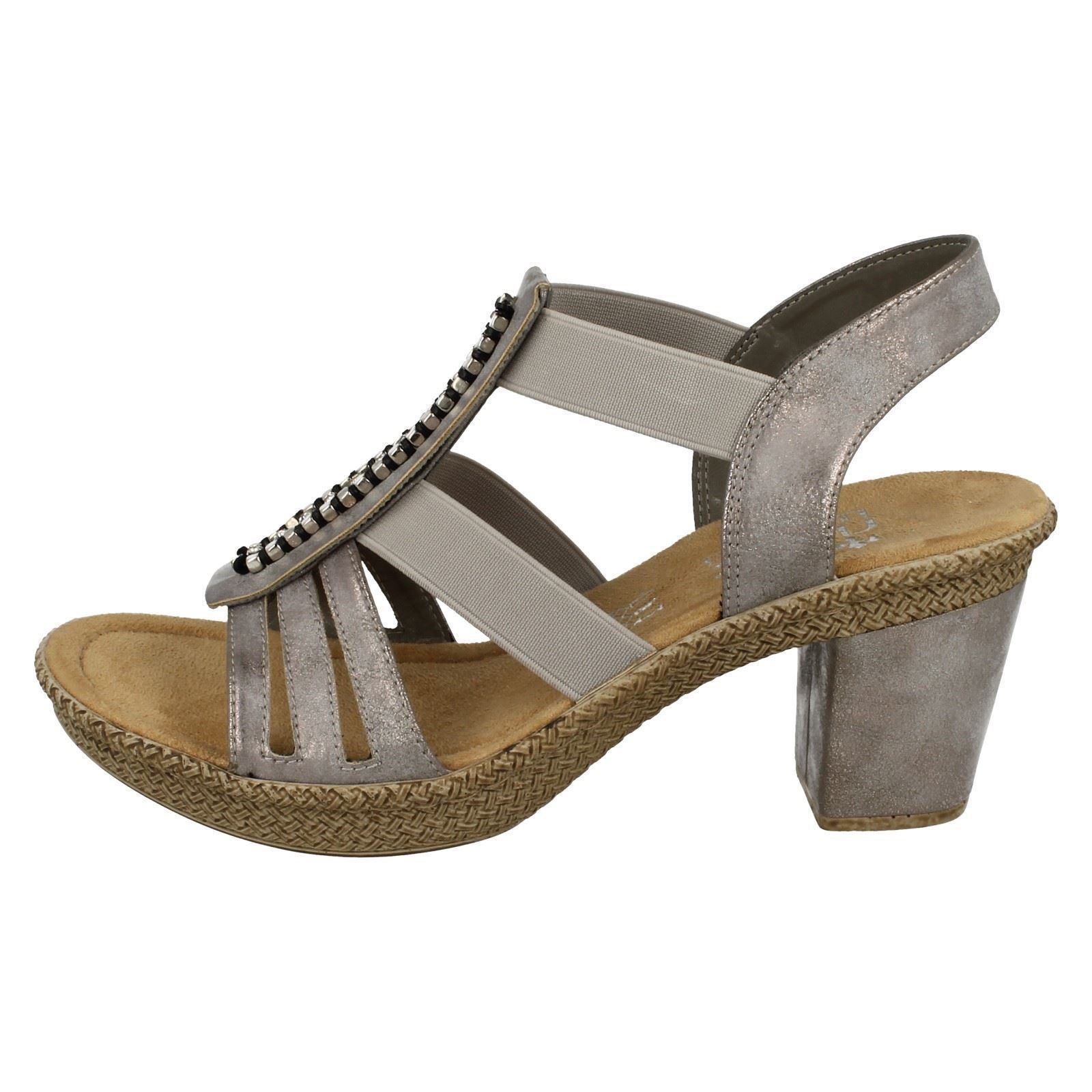 Sandals 66584 Ladies Grey Heeled Style Rieker ExSf1q4