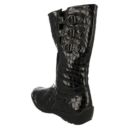 ~ Croc Patent B 'sydney' Wide Style Boots Fit Leather Easy Print K Ladies Black qvxwWRUZaa