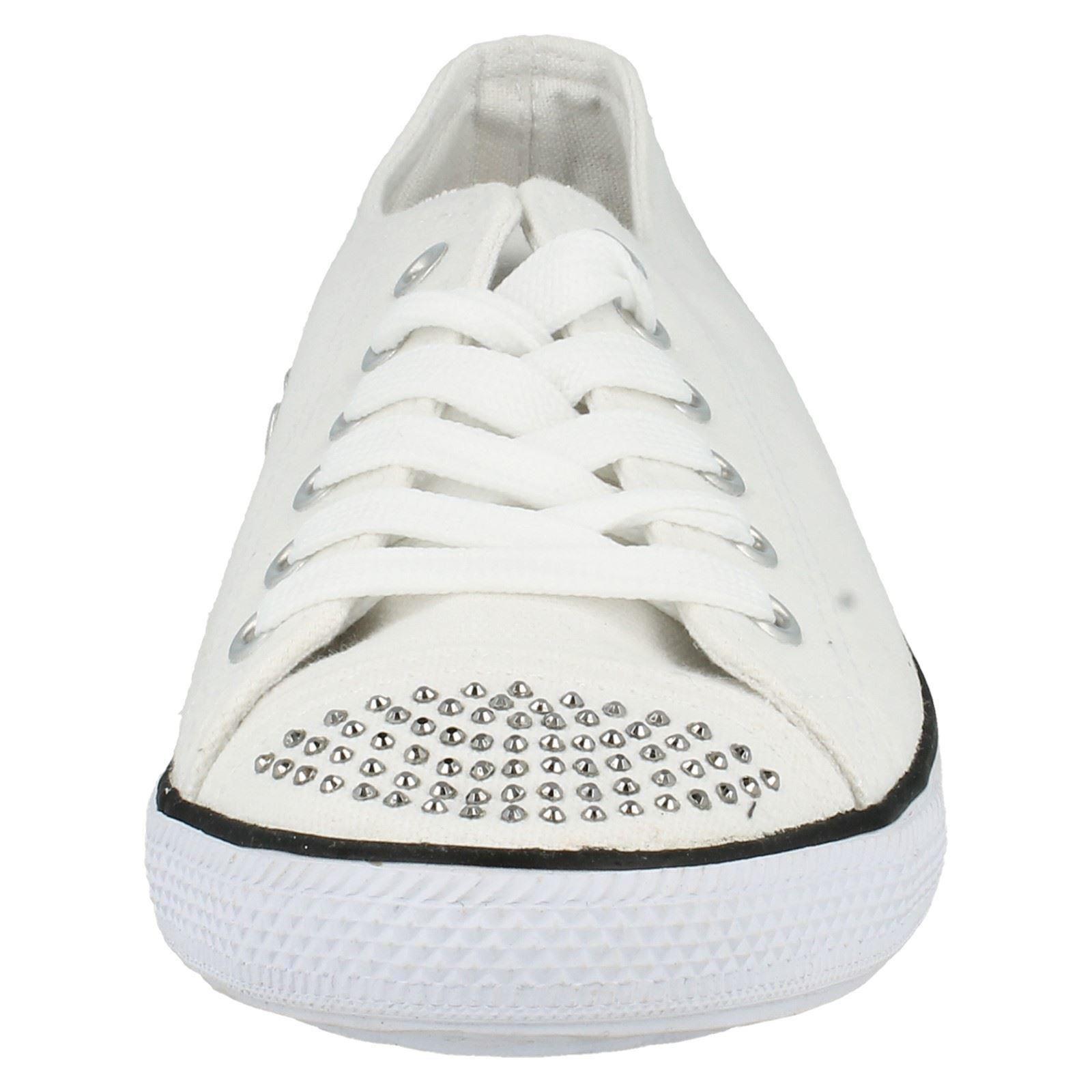 Damas Informal Estilo De Zapato De Lona Con Cordones Plana-F8955