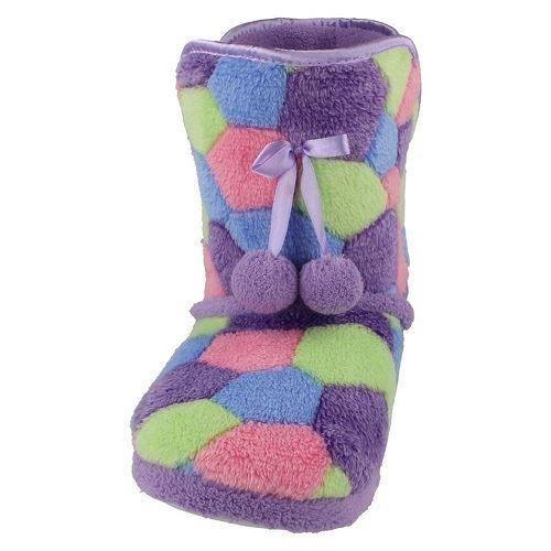 Señoras punto En Patchwork Cálido Bota Zapatillas X2035 ~ K