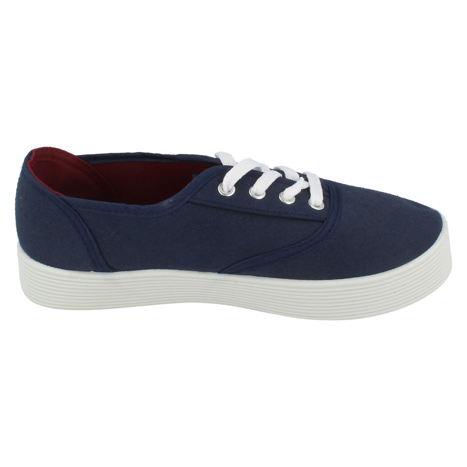 Girls Spot On Lace Up Canvas Shoes - Label X0007 ~ N