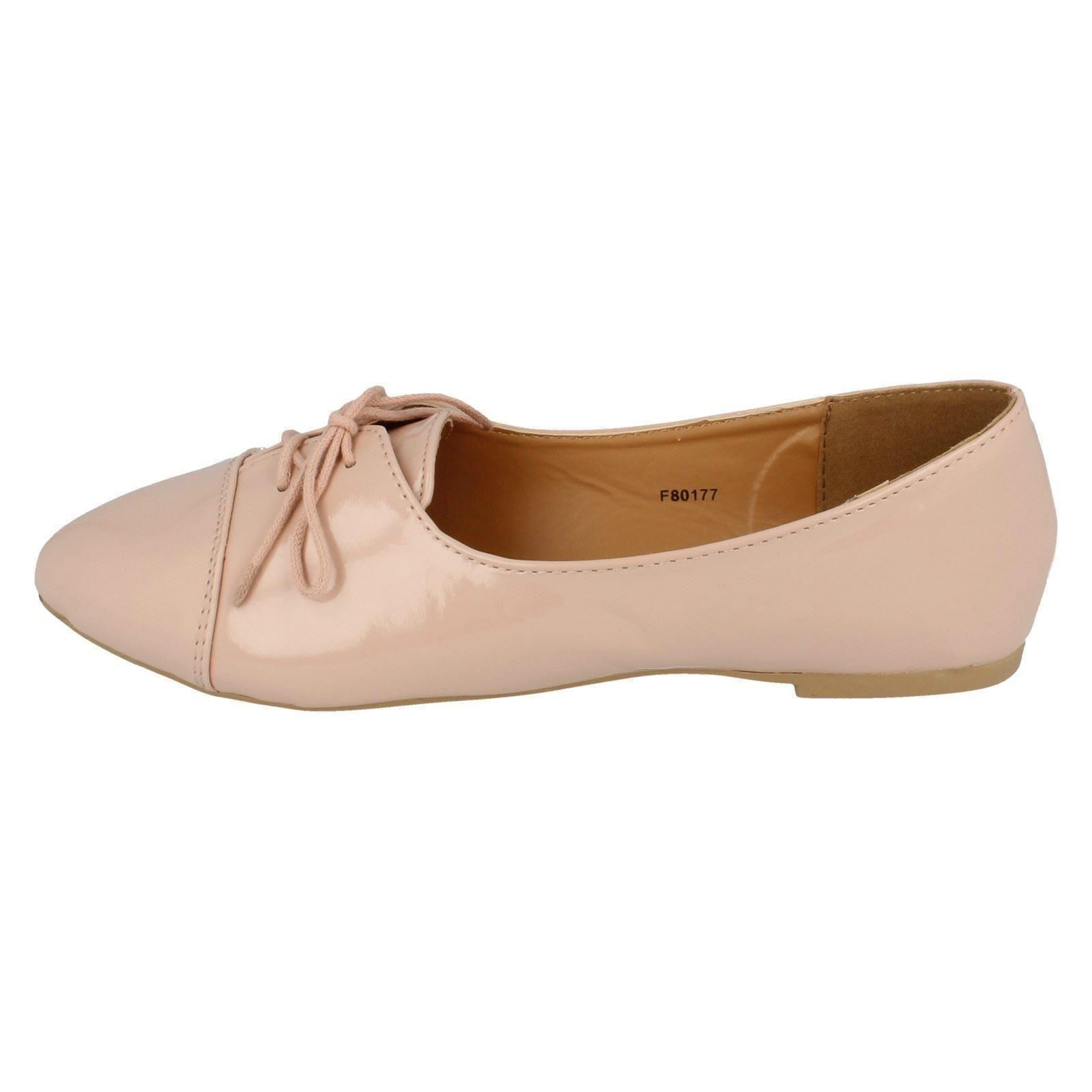 Damas Spot On Con Cordones Zapatos Planos Con Puntera Cosida F80177-D