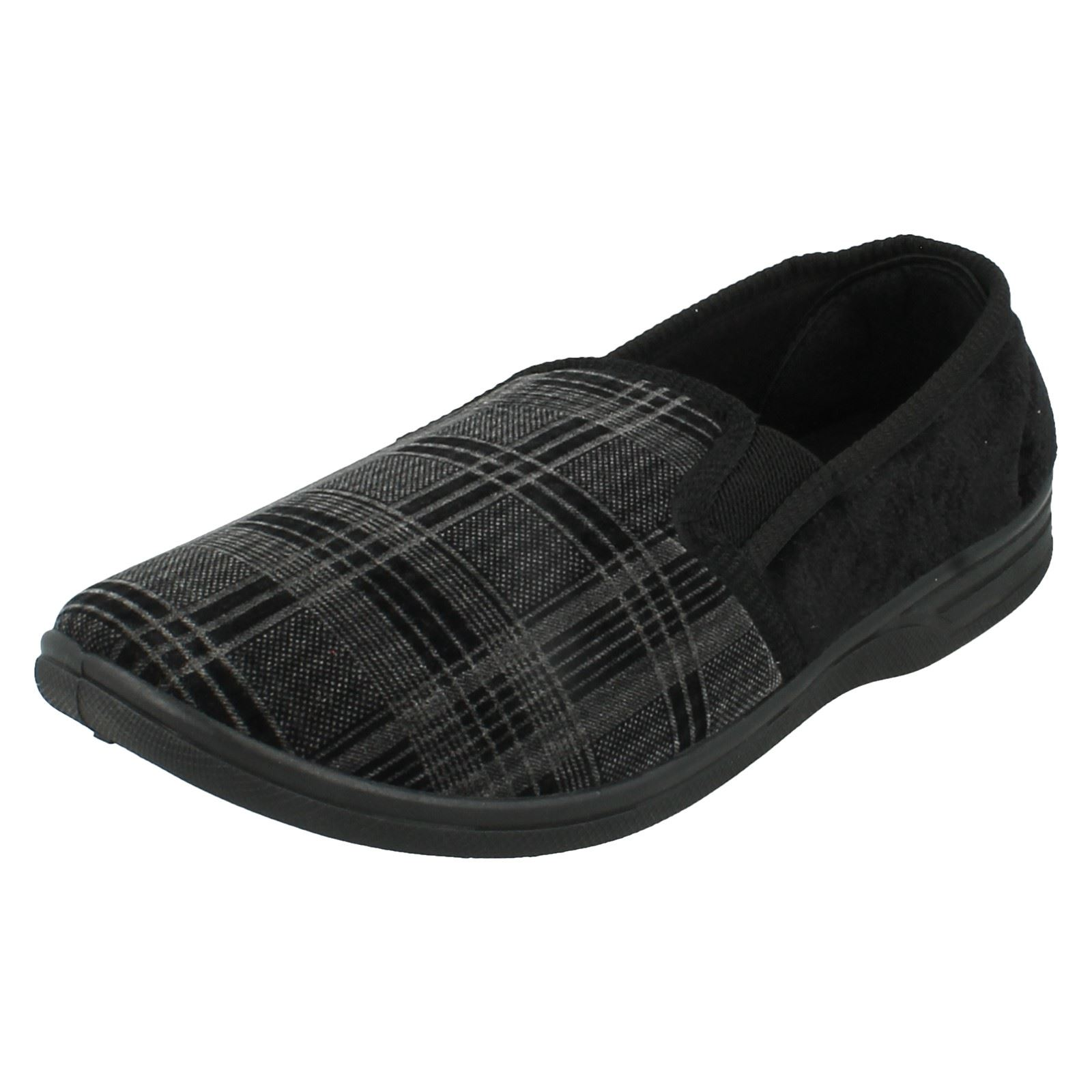 MENS BLACK CHECK SLIPPERS- M.S.20