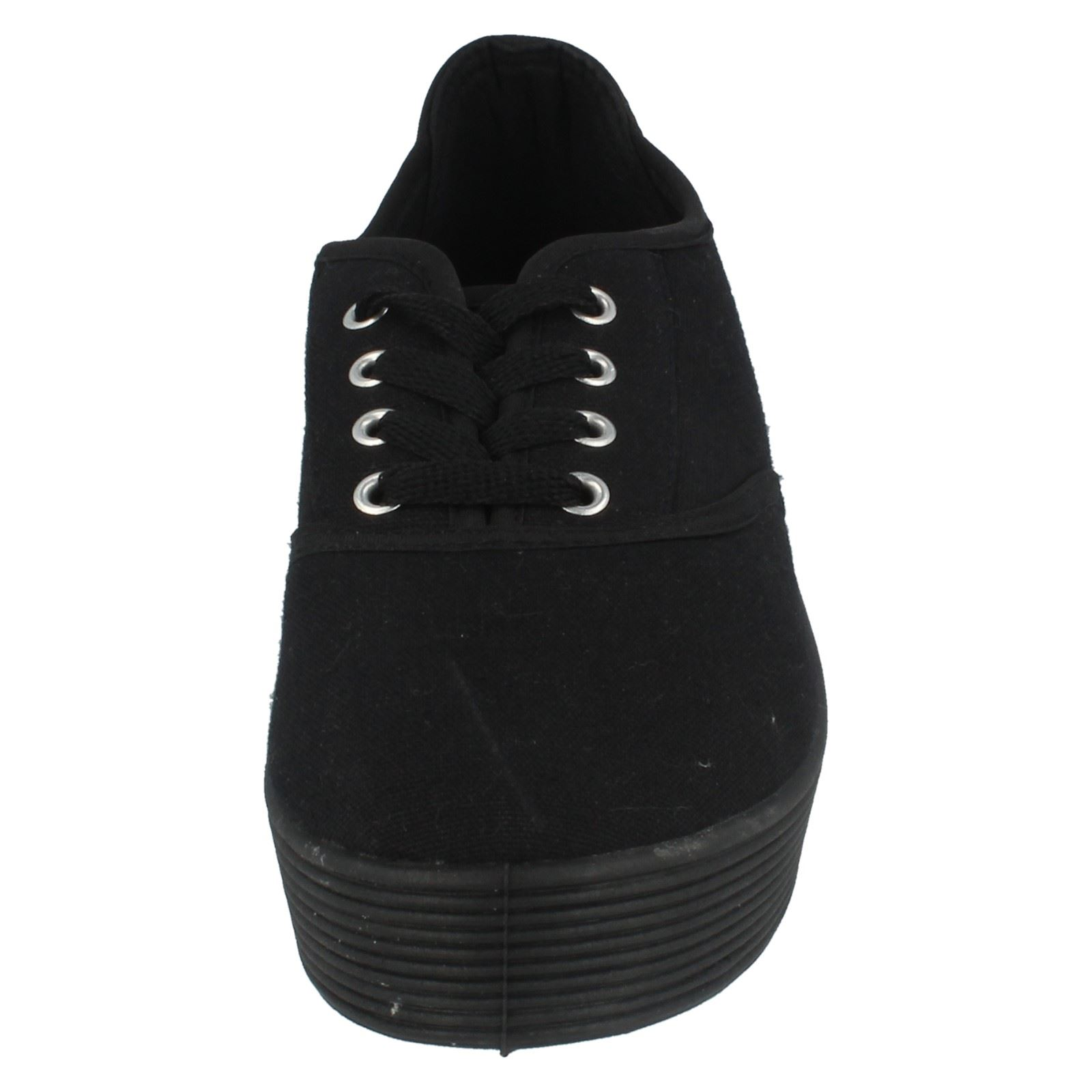 Girls Spot On Lace Up Canvas Shoes - Style X0007 ~ N