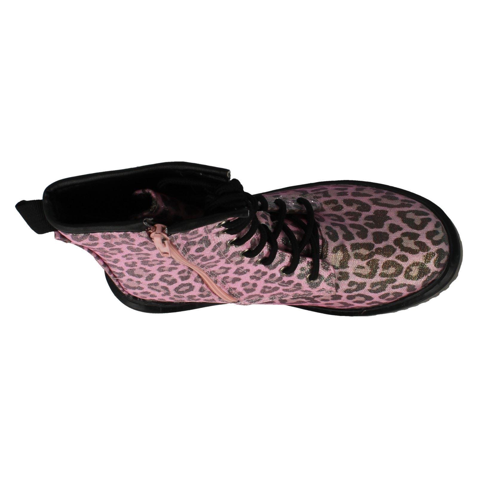 Niñas Punto En Encaje & Cremallera Estampado De Leopardo Botas H5028