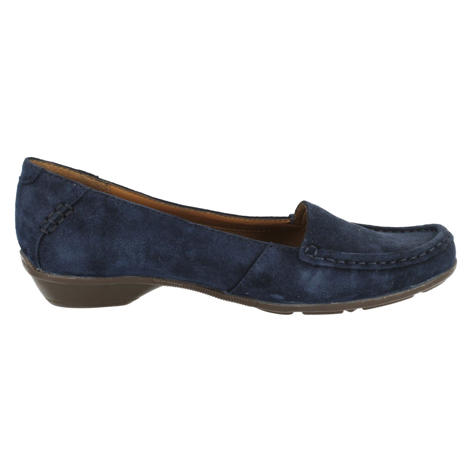 fc828c7bd61 Ladies Clarks Loafer Heeled Shoes Gilded Opal Navy UK 6 D. About this  product. Picture 1 of 8  Picture 2 of 8  Picture 3 of 8  Picture 4 of 8