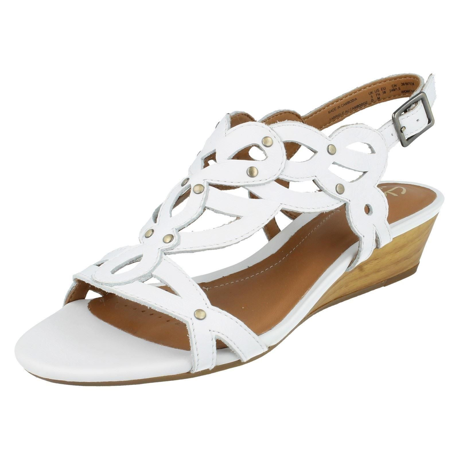 22f2e1659ba Clarks Womens Playful Tunes Leather Sandals in White 28c08 8 D. About this  product. Picture 1 of 9  Picture 2 of 9 ...