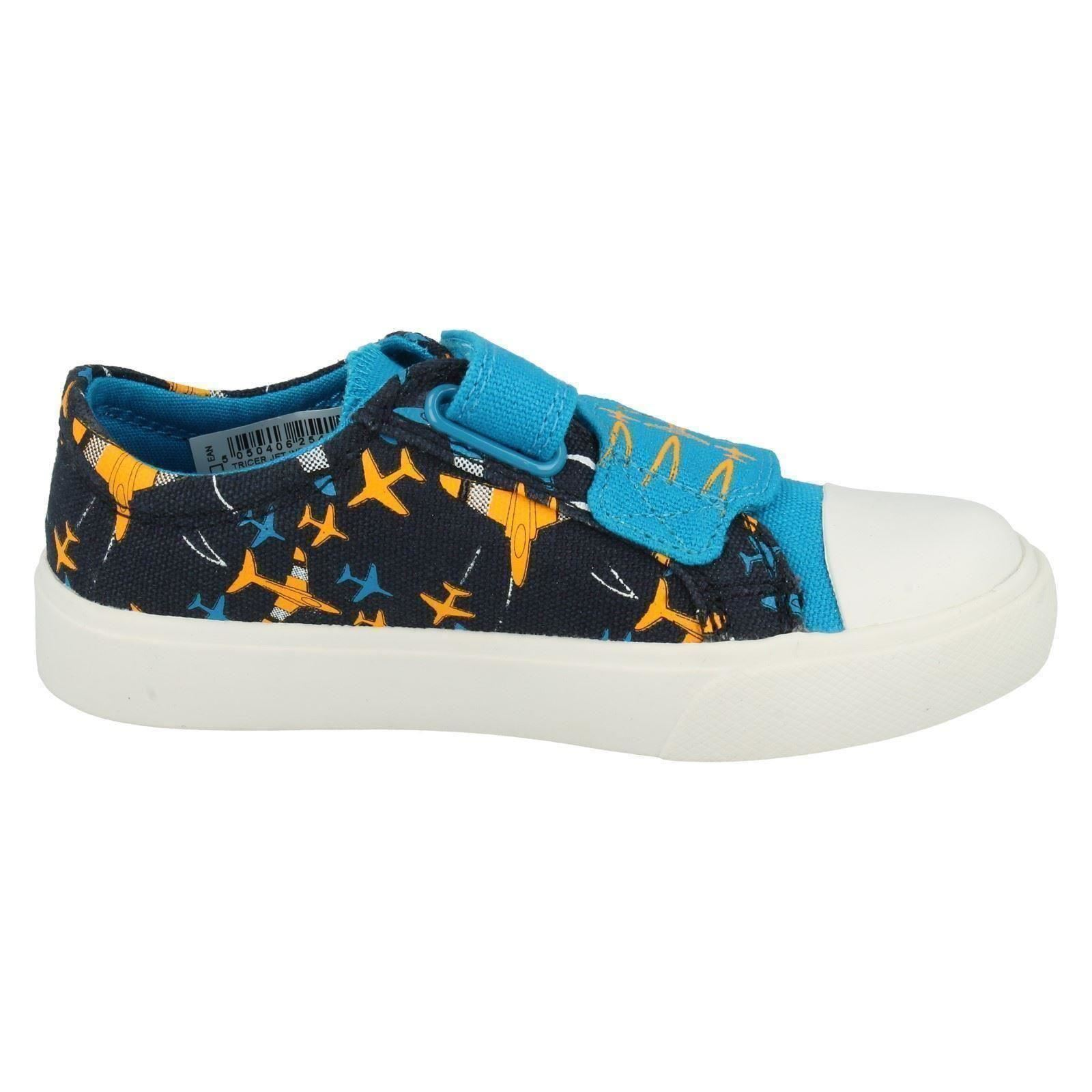 Boys Clarks Canvas Shoes Style - Tricer Jet