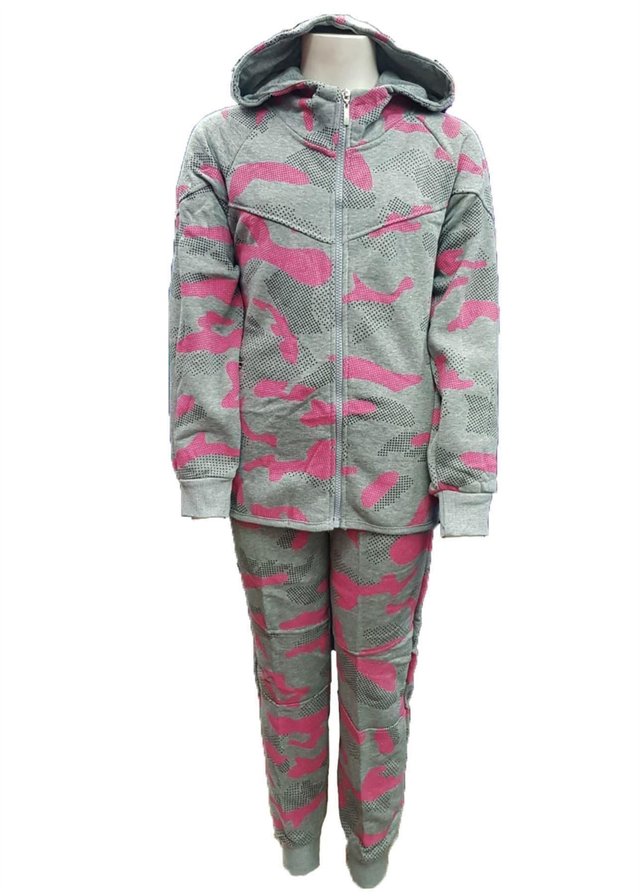 Kids girls black//pink Camo Tracksuit Hooded Top /& Jog Bottoms Set 4-14 Years