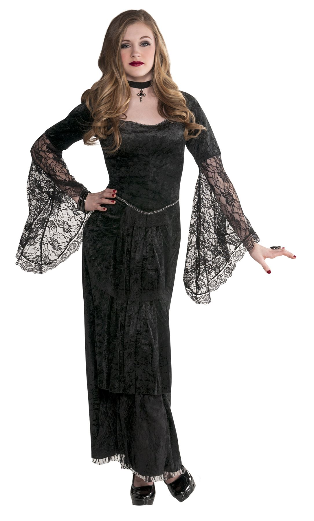 Teen-Girls-Gothic-Temptress-Costume-V&ire-Witch-Halloween-  sc 1 st  eBay & Teen Girls Gothic Temptress Costume Vampire Witch Halloween Costume ...