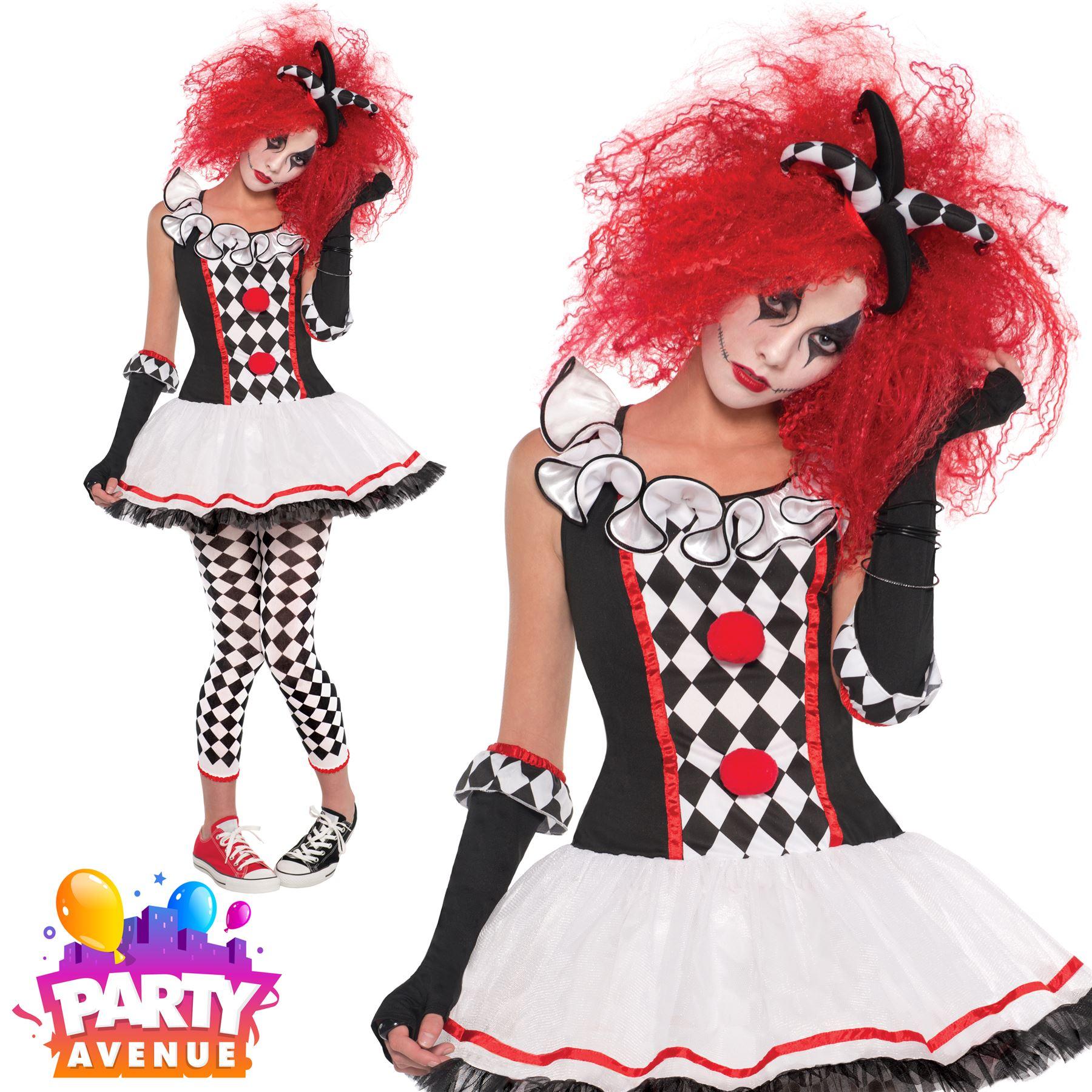 Halloween Clown Girl Outfit.Details About Girls Harlequin Honey Clown Halloween Costume Fancy Dress Outfit