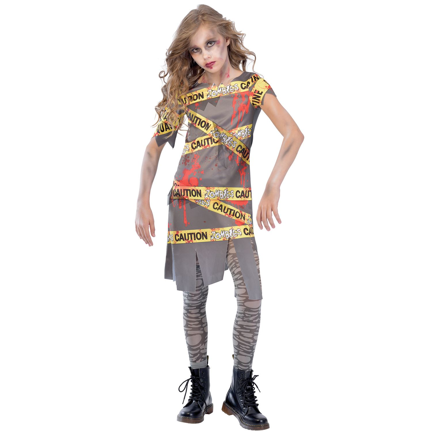 caution zombie girls fancy dress halloween spooky scary teens childs