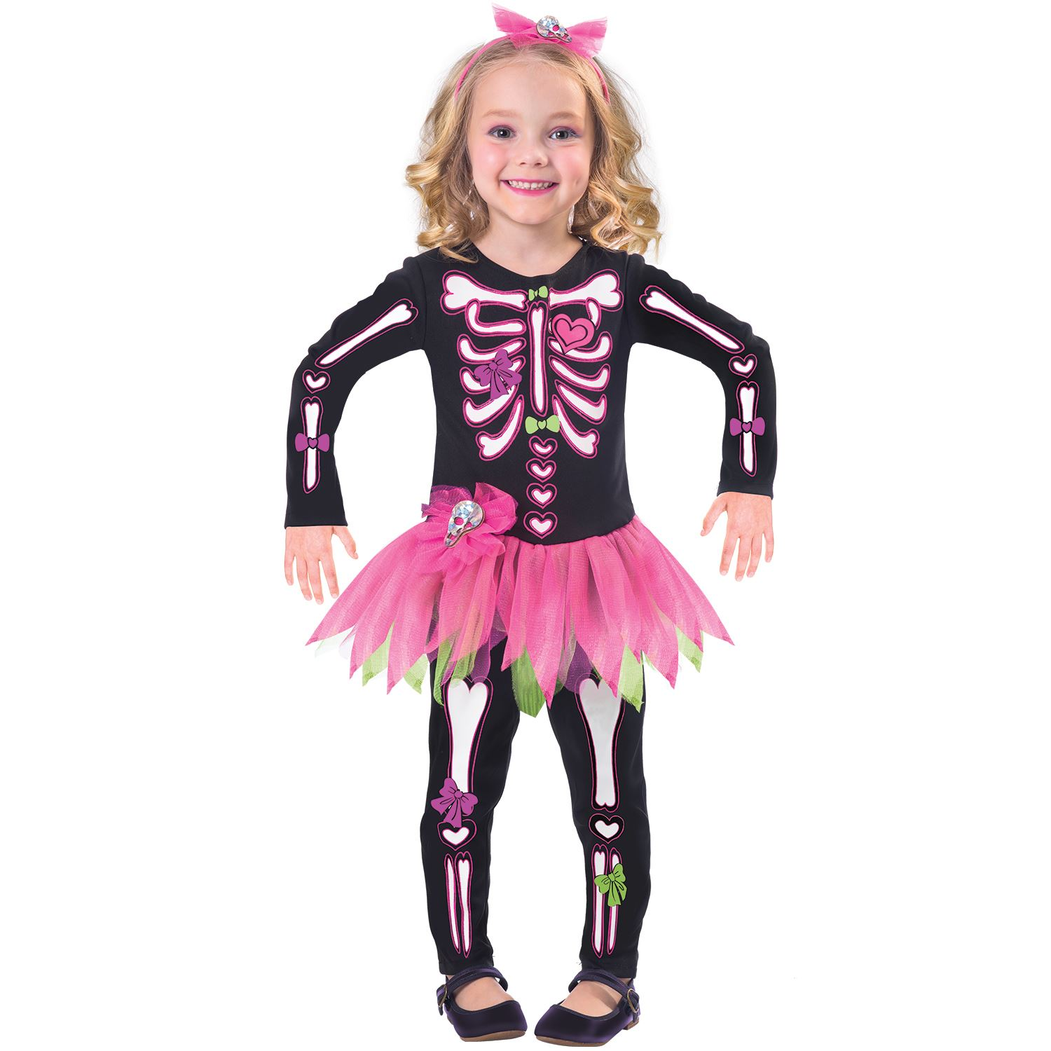 girls skeleton costume kids fancy bones toddler halloween tutu dress