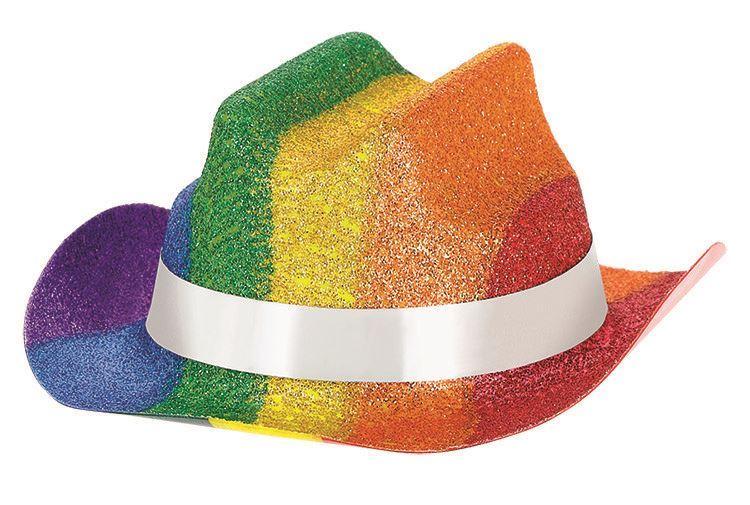c04244a3bc6 Details about Pride Rainbow Glitter Mini Cowboy Hat x 3 Festival Parade  Party Fancy Dress