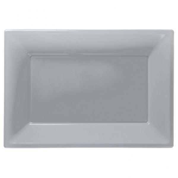 Help  sc 1 st  eBay & Amscan Plastic 3 Serving Platters Silver | eBay