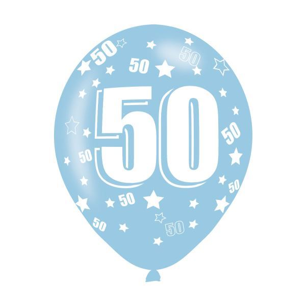f5322bd479ba9 Details about 6pk Age 50 Assorted Colours Latex Balloons Birthday Party  Decorations