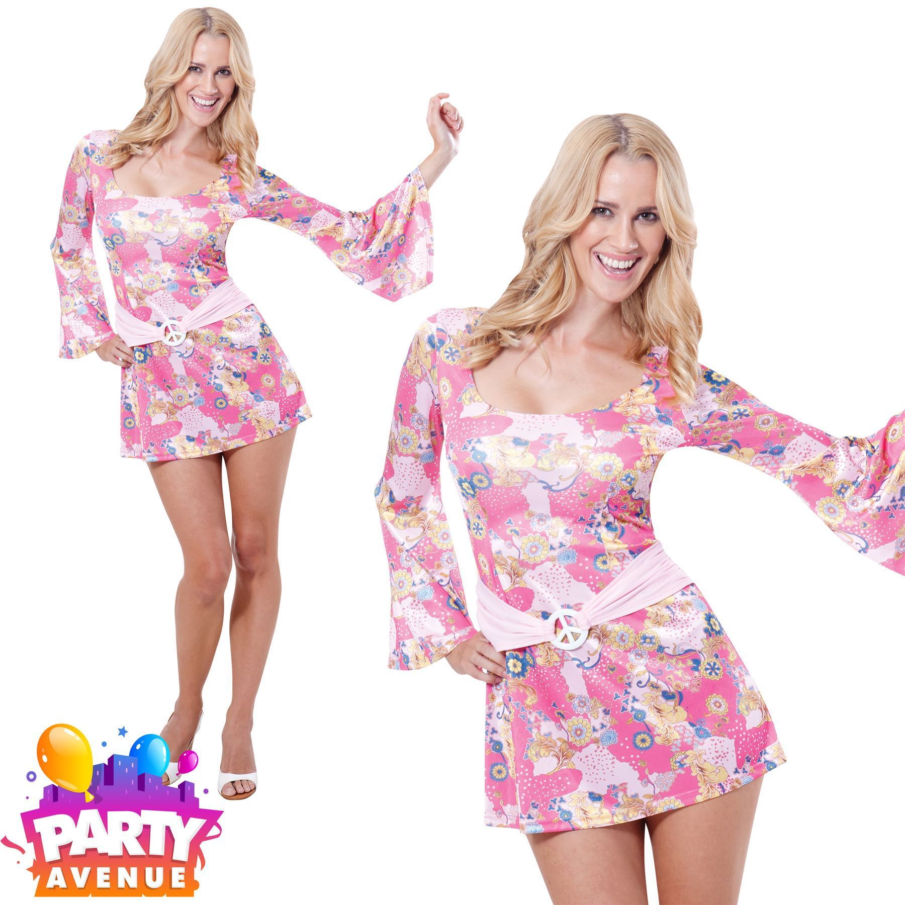 5ed4c7568da 60s 70s Hippy Flower Power Hippie Chick Fancy Dress Costume Womens Ladies