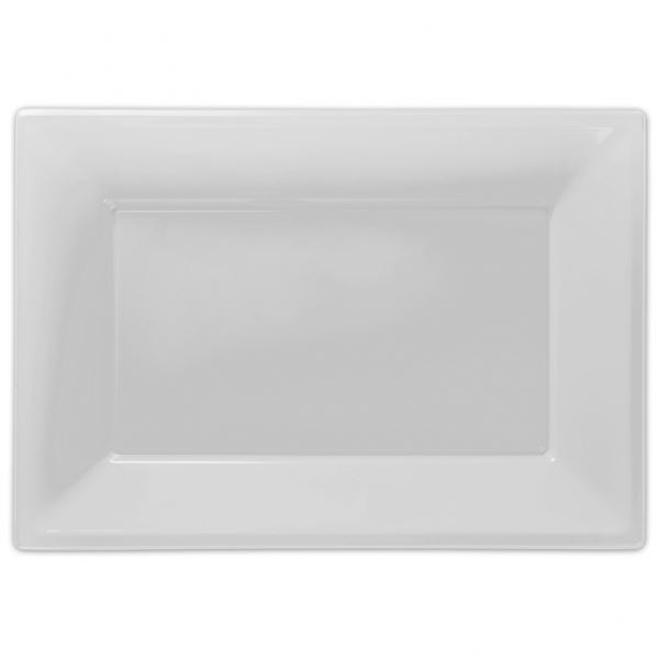 2 x WHITE PLASTIC SERVING PLATTERS 3 SECTION TRAYS WEDDING BUFFET PARTY TRAY