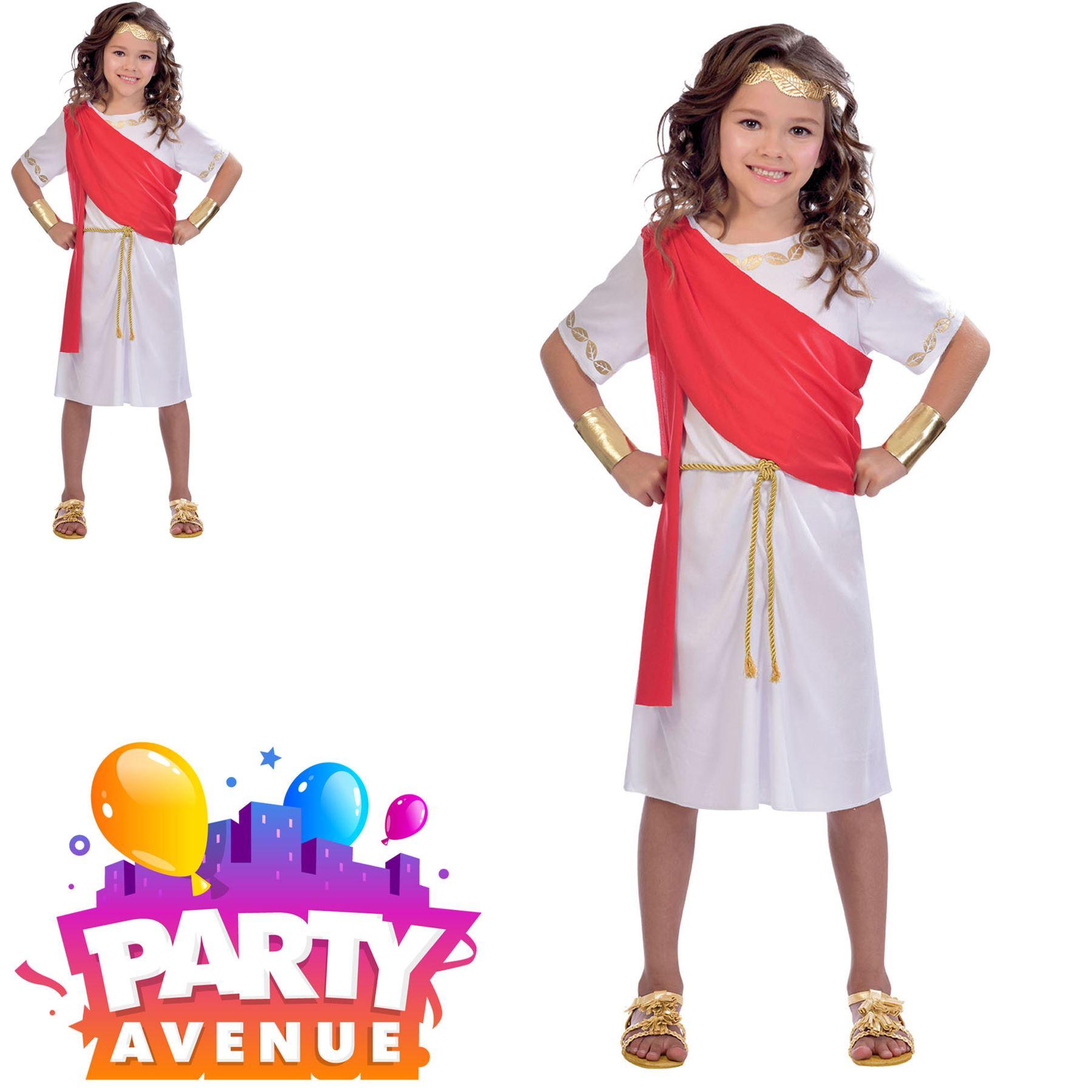 Ancient Greek Girls Fancy Dress Grecian History Day Roman Toga Kid Child Costume