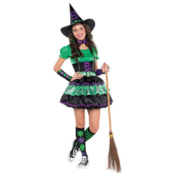 Girls Teen Wicked Cool Witch Halloween Costume Fancy Dress Outfit ...