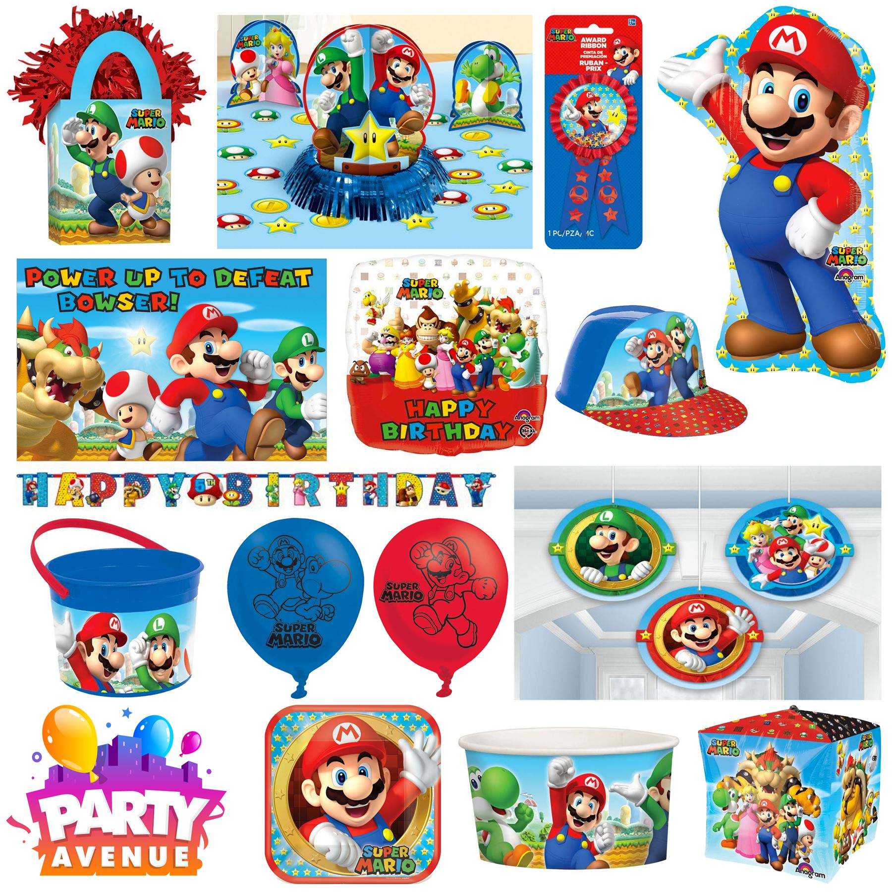 nintendo mario anniversaire d coration de f te ballon. Black Bedroom Furniture Sets. Home Design Ideas