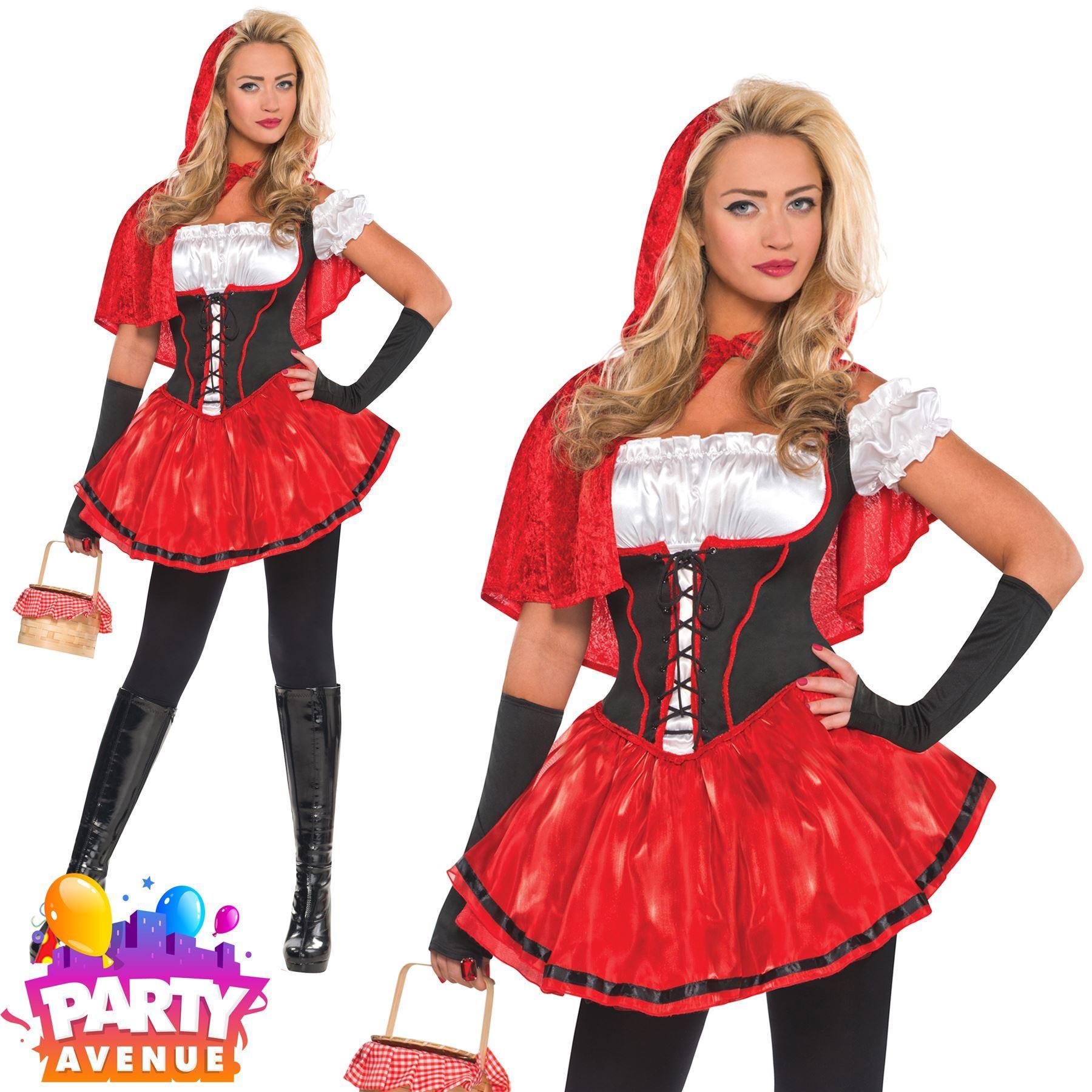 Ladies Red Riding Hood Mini Picnic Basket Purse Fairytale Fancy Dress Accessory