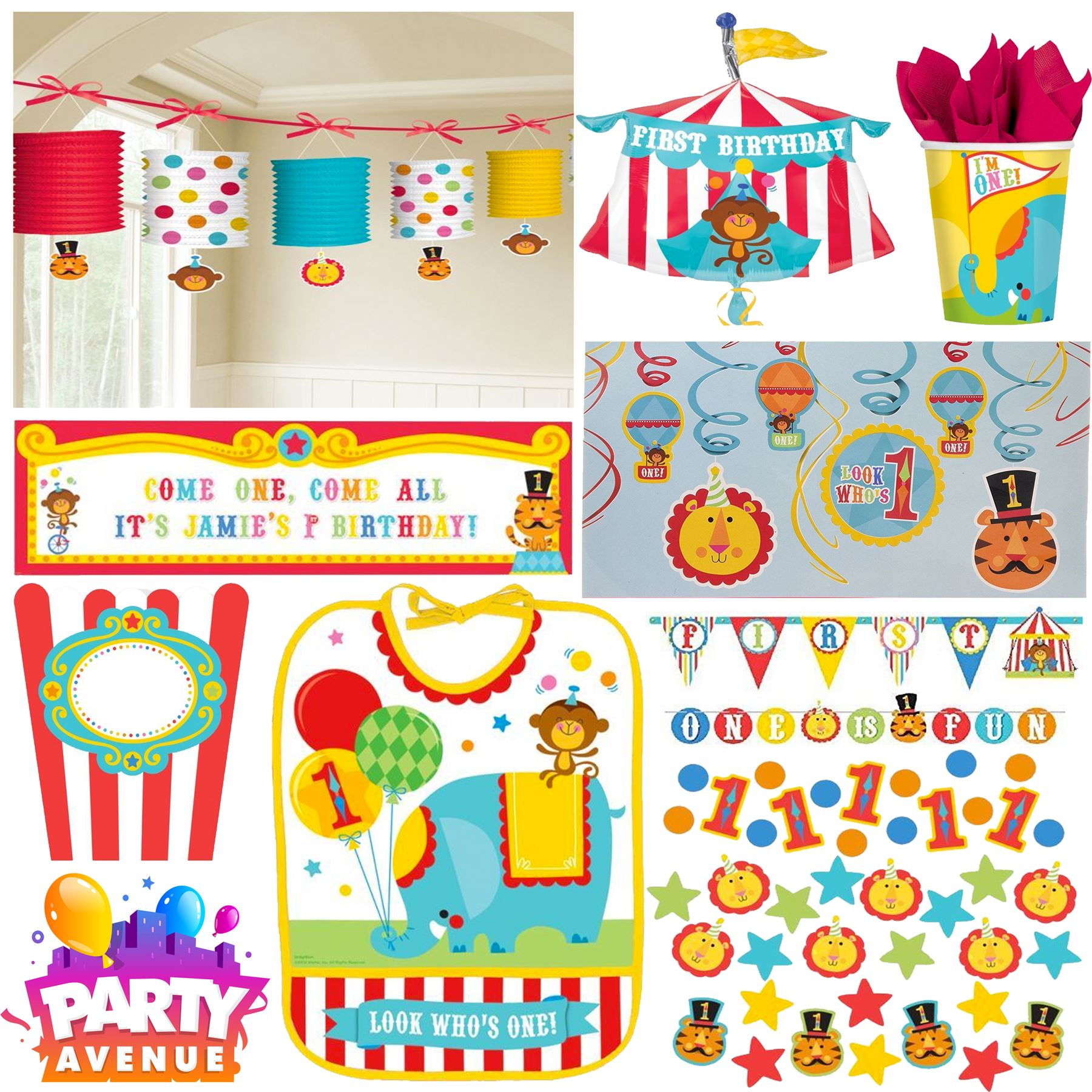 Fisher Price Circus Decorations Tableware Balloons 1st Birthday Party