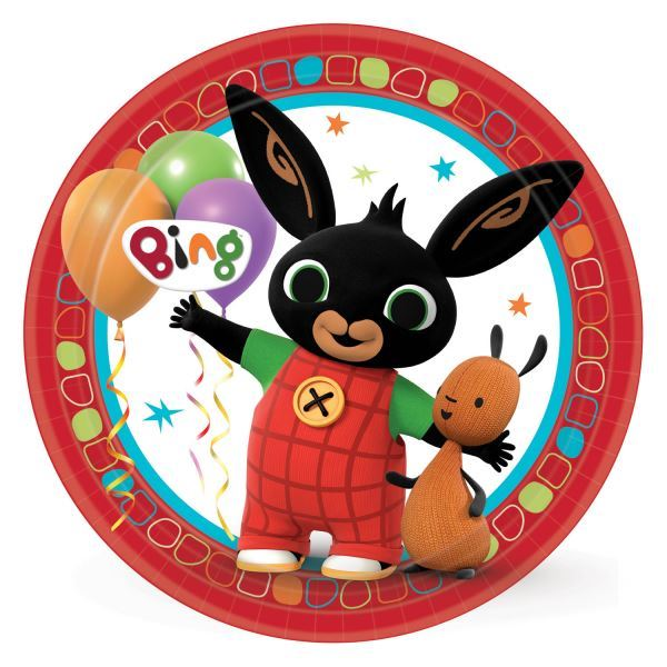 8pk Bing The Bunny Kids Birthday Party Large 23cm Paper Dinner Plates 9901515