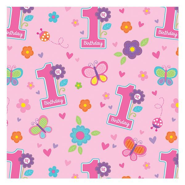 Sweet Birthday Girl Gift Wrap Paper Rolls Baby 1st Party