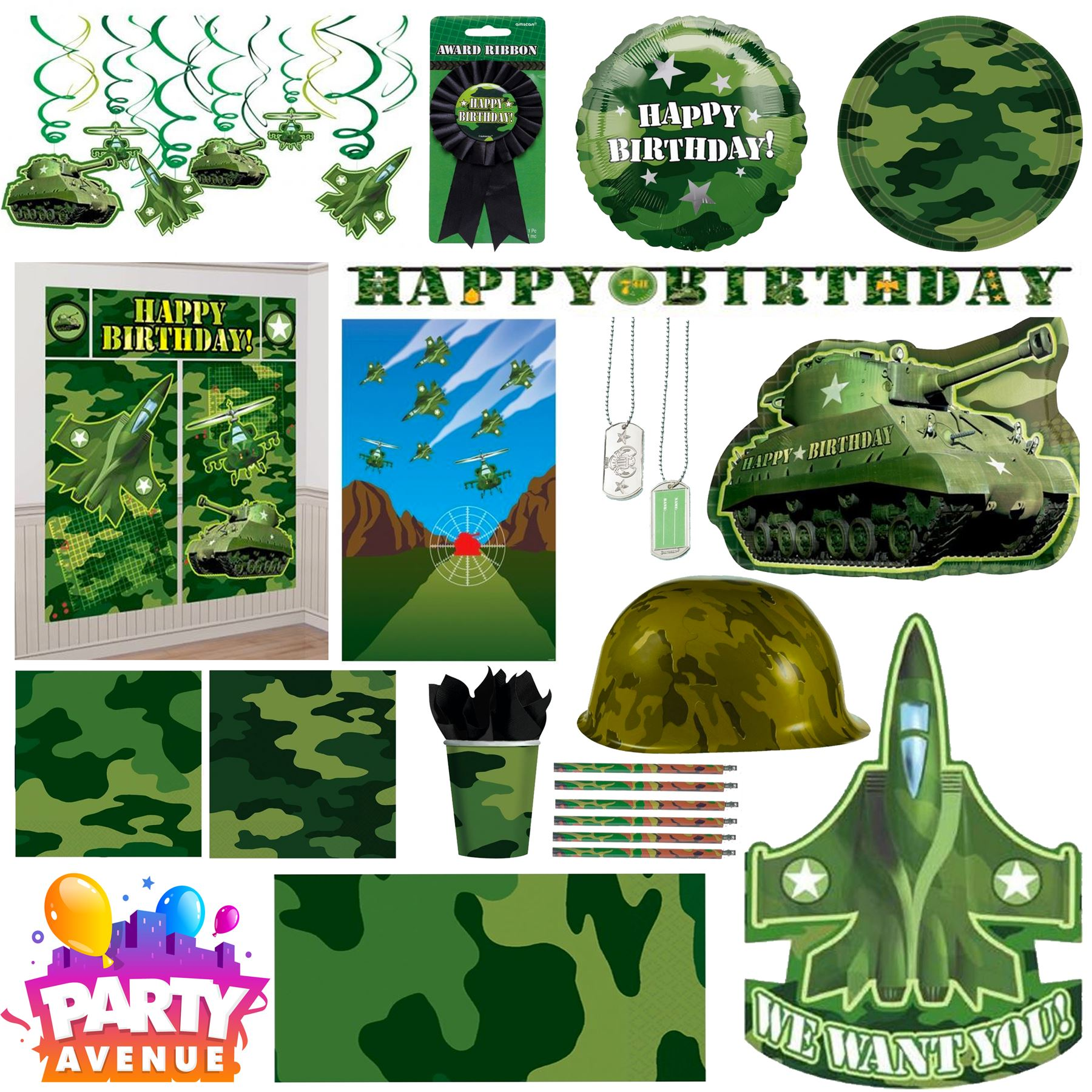 Army camouflage party birthday party decorations balloons for Army party decoration ideas