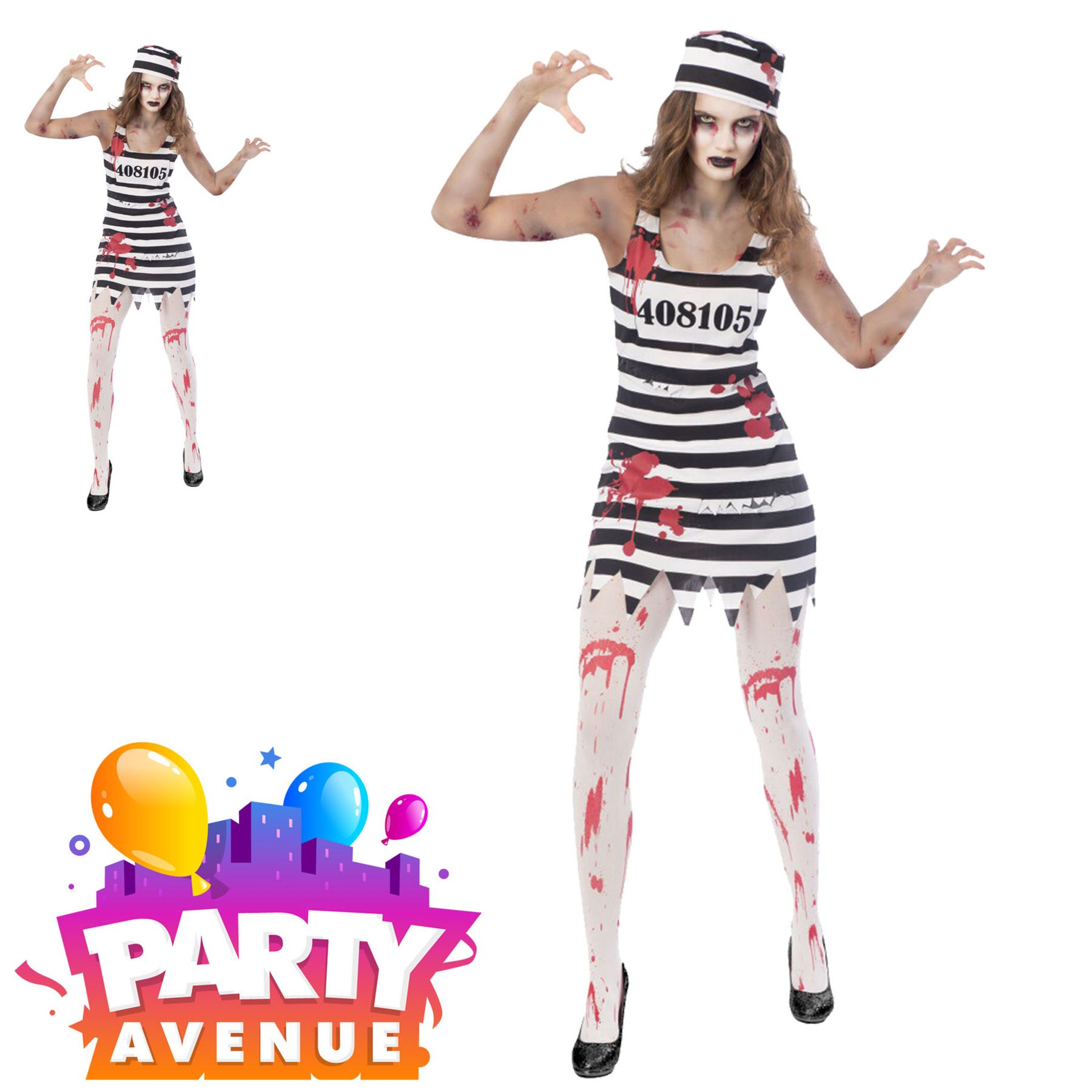 Adult Zombie Convict Costume Prisoner Womens Ladies Halloween Fancy Dress Outfit