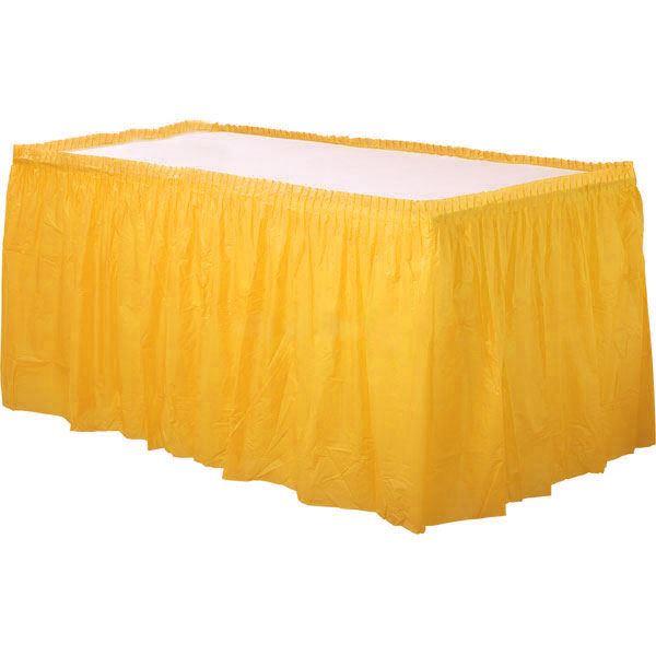 08853e518 Yellow Plastic Table Skirt Fringe 14ft Birthday Party Decoration Tableware