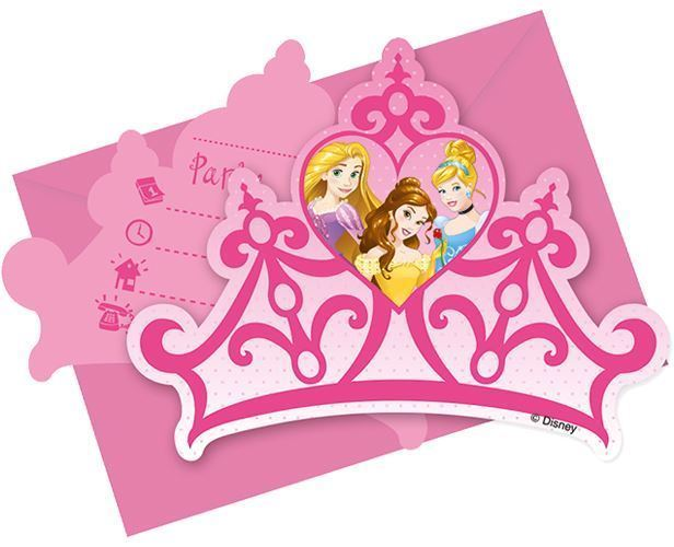 Disney princess girls birthday party crown invites envelopes disney princess dreaming party childrens birthday tableware decorations picture 2 of 2 filmwisefo