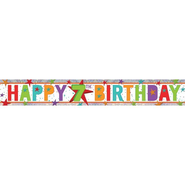 Pink Happy 7th Birthday Foil Party Banner DecorationHearts Holographic Age 7