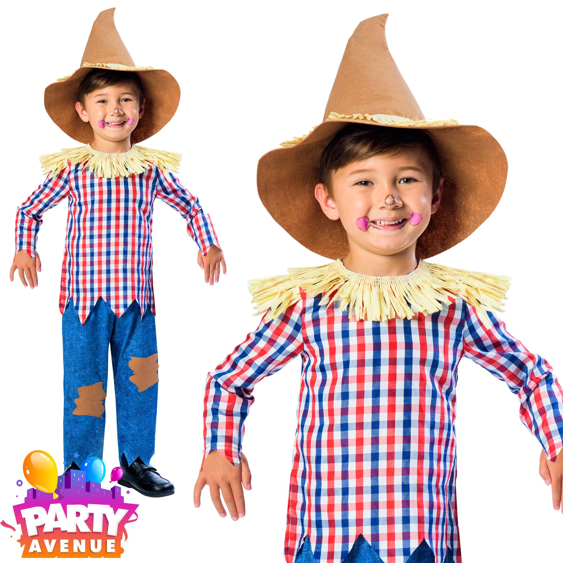 Boys Scarecrow Costume Fairytale Fancy Dress Kids Book Day Wizard of Oz 3-4yrs