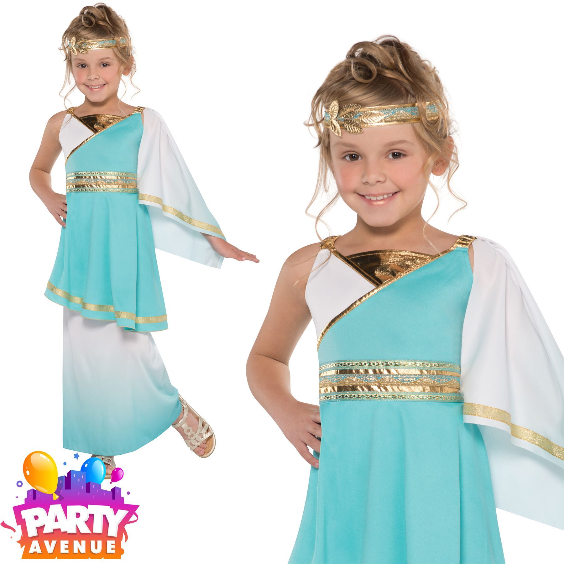 b1f10a4a187 Details about Girls Venus Goddess Costume Teen Roman Toga Greek Child Fancy  Dress Kids Outfit
