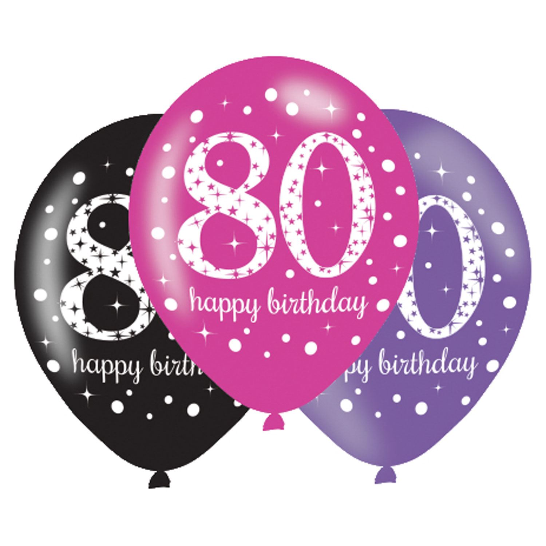 6pk Pink Sparkling Celebration 80th Birthday Party Latex Balloons