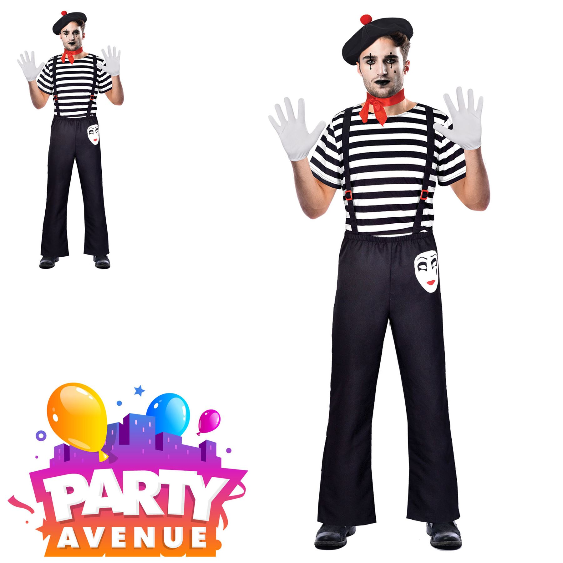 Mimo adulto Men/'s Fancy Dress Costume Carnevale Halloween Circo francese