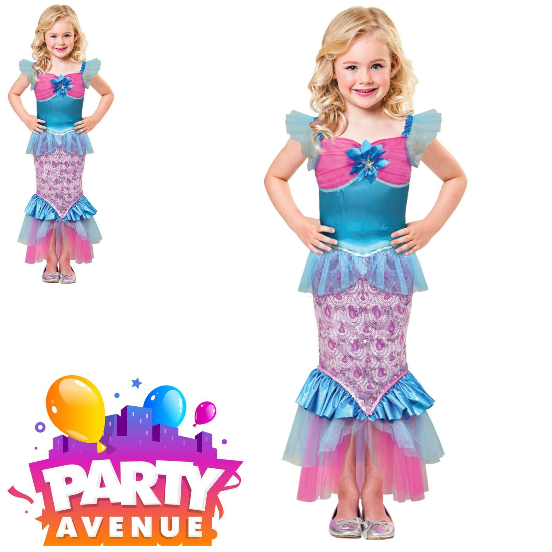 Girls Little Mermaid Costume Sparkle of the Sea Kids Book Day Week Fancy Dress