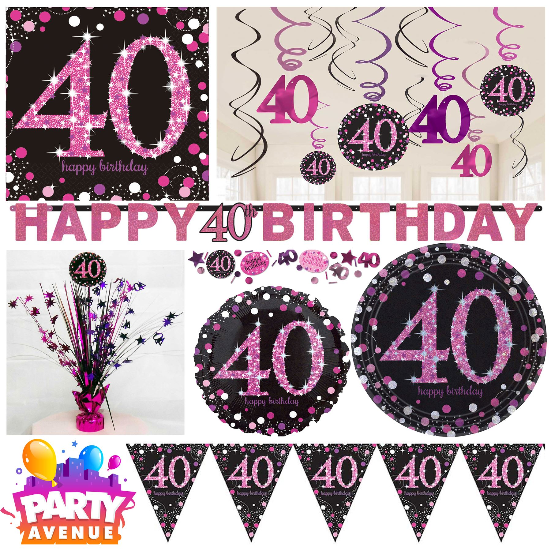 Details About Pink Sparkling Celebration 40th Birthday Party Tableware Decorations Balloons