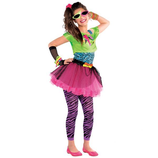 Childs Girl 80s Costume Totally Awesome Teen Neon Disco Retro Fancy Dress Outfit